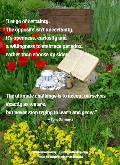 """""""Let go of certainty. The opposite isn't uncertainty. It's openness, curiosity and a willingness to embrace paradox, rather than choose up sides. The ultimate challenge is to accept ourselves exactly as we are, but never stop trying to learn and grow."""" ― Tony Schwartz"""