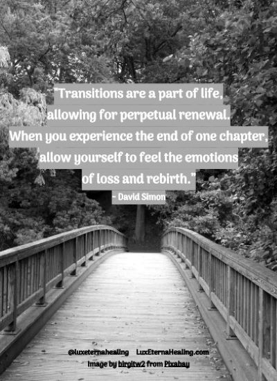 """Transitions are a part of life, allowing for perpetual renewal. When you experience the end of one chapter, allow yourself to feel the emotions of loss and rebirth."" ~ David Simon"