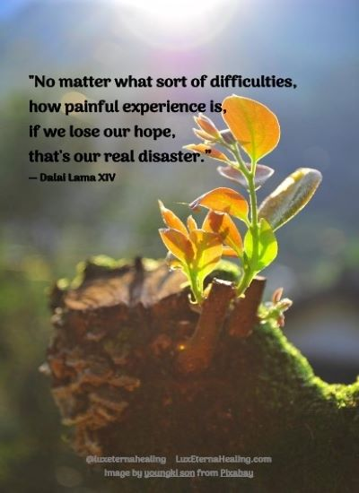 """No matter what sort of difficulties, how painful experience is, if we lose our hope, that's our real disaster."" ― Dalai Lama XIV"
