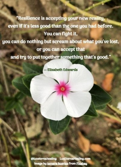 """""""Resilience is accepting your new reality, even if it's less good than the one you had before. You can fight it, you can do nothing but scream about what you've lost, or you can accept that and try to put together something that's good."""" ― Elizabeth Edwards"""