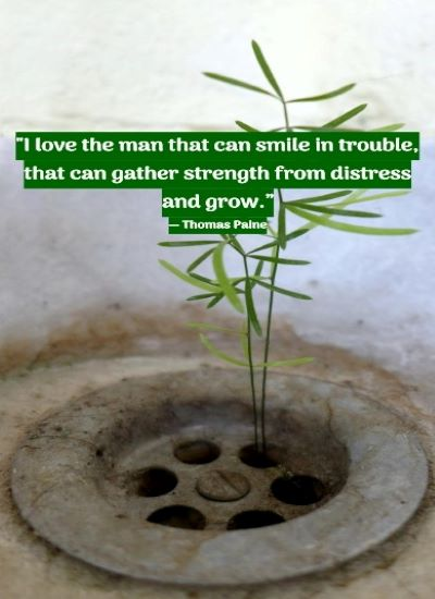 """""""I love the man that can smile in trouble, that can gather strength from distress and grow."""" ― Thomas Paine"""