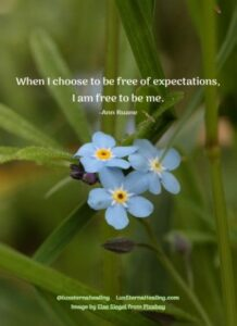 When I choose to be free of expectations, I am free to be me. -Ann Ruane
