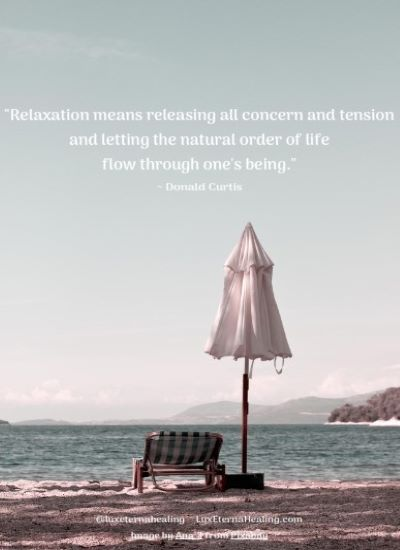 """Relaxation means releasing all concern and tension and letting the natural order of life flow through one's being."" ~ Donald Curtis"