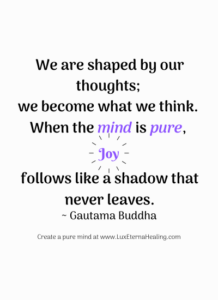 """We are shaped by our thoughts; we become what we think. When the mind is pure, joy follows like a shadow that never leaves."" ~ Gautama Buddha"