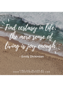 """Find ecstasy in life; the mere sense of living is joy enough."" ~ Emily Dickinson"