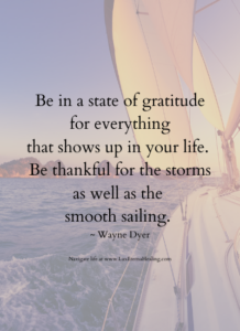Be in a state of gratitude for everything that shows up in your life. Be thankful for the storms as well as the smooth sailing. ~ Wayne Dyer