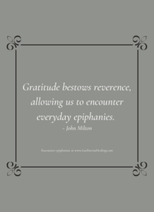 Gratitude bestows reverence, allowing us to encounter everyday epiphanies. ~ John Milton