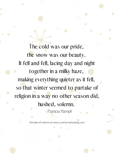 The cold was our pride, the snow was our beauty. It fell and fell, lacing day and night together in a milky haze, making everything quieter as it fell, so that winter seemed to partake of religion in a way no other season did, hushed, solemn. ~ Patricia Hampl