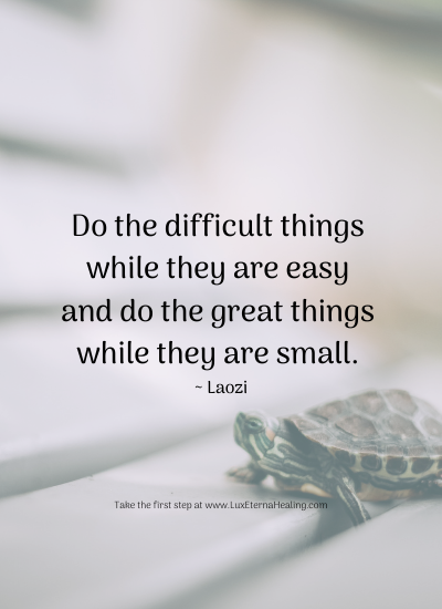 Do the difficult things while they are easy and do the great things while they are small. ~ Laozi