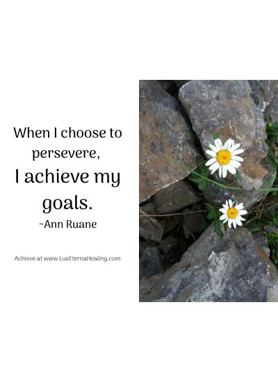 When I choose to persevere, I achieve my goals. ~Ann Ruane