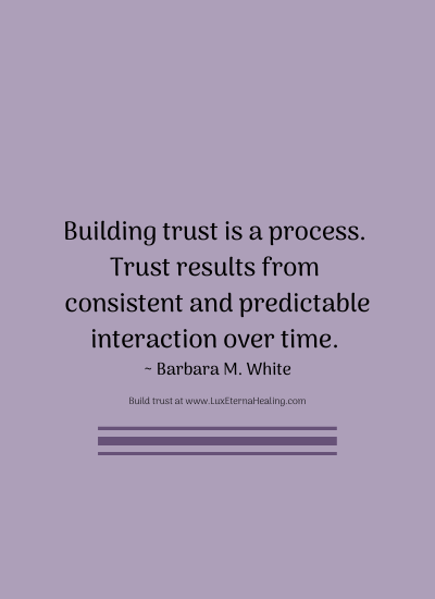 Building trust is a process. Trust results from consistent and predictable interaction over time. ~ Barbara M. White