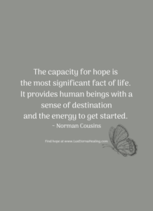 The capacity for hope is the most significant fact of life. It provides human beings with a sense of destination and the energy to get started. ~ Norman Cousins