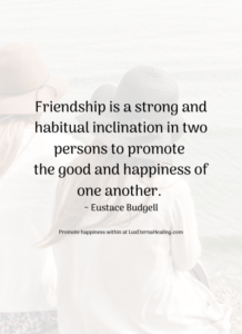 Friendship is a strong and habitual inclination in two persons to promote the good and happiness of one another. ~ Eustace Budgell