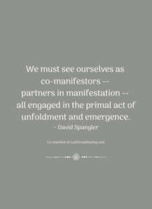 We must see ourselves as co-manifestors -- partners in manifestation -- all engaged in the primal act of unfoldment and emergence. ~ David Spangler