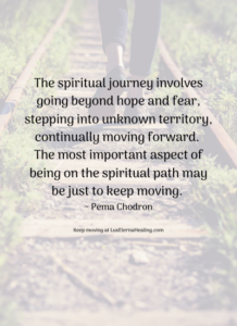 The spiritual journey involves going beyond hope and fear, stepping into unknown territory, continually moving forward. The most important aspect of being on the spiritual path may be just to keep moving. ~ Pema Chodron