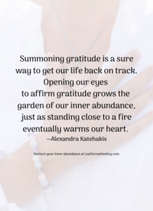Summoning gratitude is a sure way to get our life back on track. Opening our eyes to affirm gratitude grows the garden of our inner abundance, just as standing close to a fire eventually warms our heart. —Alexandra Katehakis